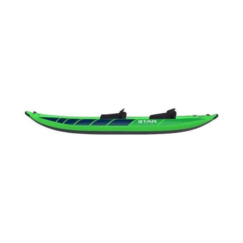 STAR Raven II Inflatable Kayak - Lime body with 2 black seats visible.