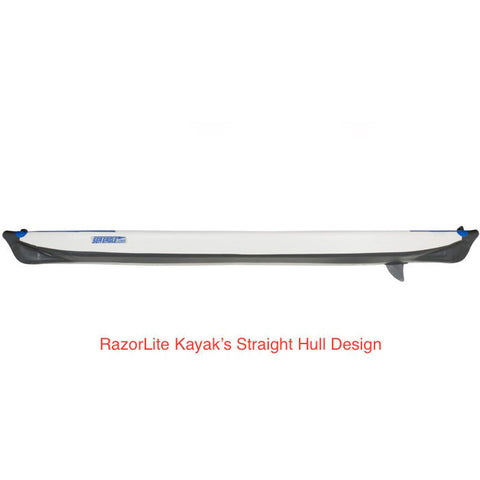 Sea Eagle RazorLite 393rl Inflatable Kayak side view of the straight hull design.