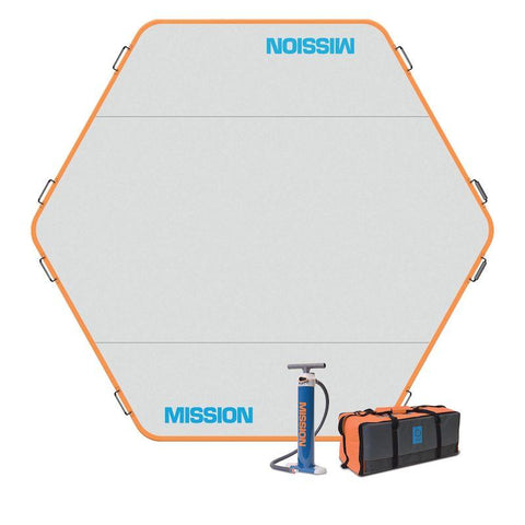 Mission Reef Hex Inflatable Floating Dock is shown.  The 112 sq ft hexagon shaped floating water mat.  The border is bright orange, the surface is light grey, and Mission Reef is written in light blue.  The air pump and storage bag that are included are shown.