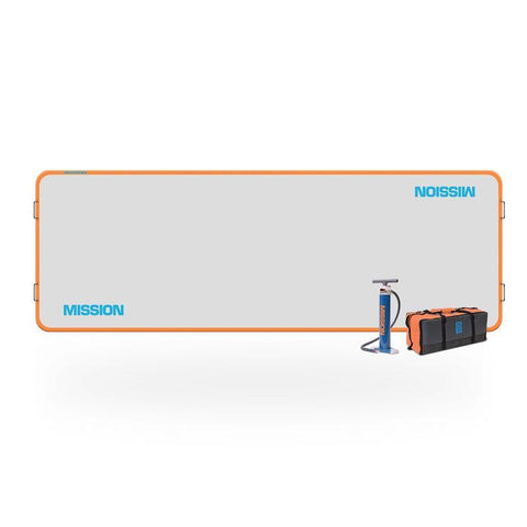 Mission Reef Inflatable Floating Docks this 123 square foot inflatable dock is rectangular.  The surface is light grey and the border is orange. Mission Reef Inflatable Dock is in light blue.  Thee air pump and storage bag are also pictured.