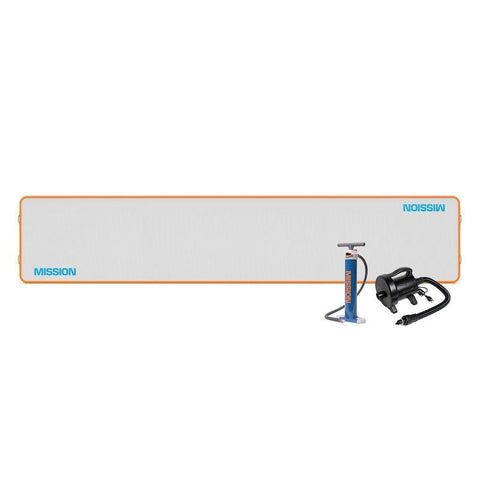 Mission Reef-129 Inflatable Floating Dock is shown.  It is a long rectangle with a grey surface.  The border is bright orange and Mission is printed in light blue.  The air pump and electric pump that are included are shown.