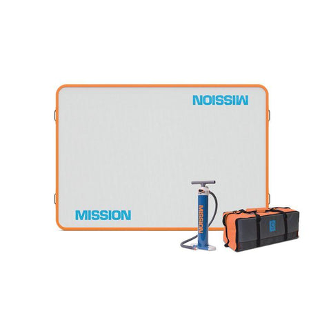 Mission Reef 048 Inflatable Floating Dock is pictured.  It is almost a square shape but is a 6ft x 8ft rectangle.  Grey surface with blue Mission in block letters, the border is bright orange.  The included air pump and storage bag are also shown.