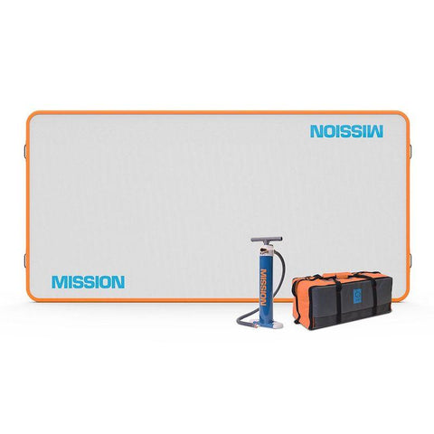 85 sq ft Mission Reef Inflatable Water Mat is shown along with the air pump and storage bag with handles.  The reef inflatable water mat is rectangular with a light grey surface.  The border is bright orange and Mission Reef is printed in light blue on the surface.