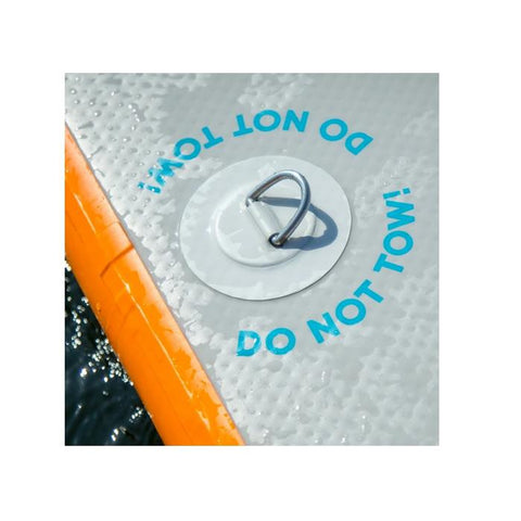 "The Mission Reef Inflatable Water Mats d ring is shown as well as lettering that says, ""Do Not Tow!"""