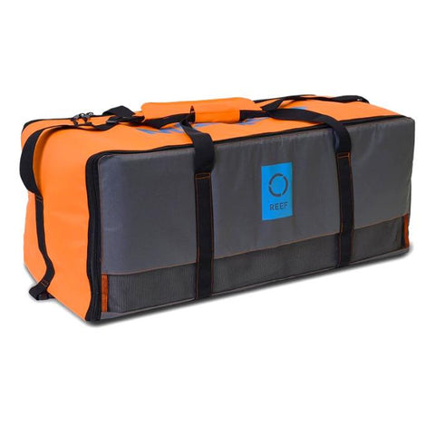 The Mission Reef Inflatable Water Mat Storage bag is shown.  It is grey with orange and light blue highlights.
