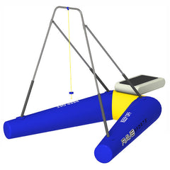 Rave Rope Swing Water Trampoline Attachment with blue inner tubes with yellow highlights and aluminum rope swing frame.  Computer generated image on a white background.