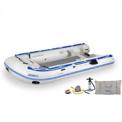 Sea Eagle 14' Sport Runabout Inflatable Boat top view with the bag and pump sitting next to the white Sea Eagle inflatable boat with blue lettering.