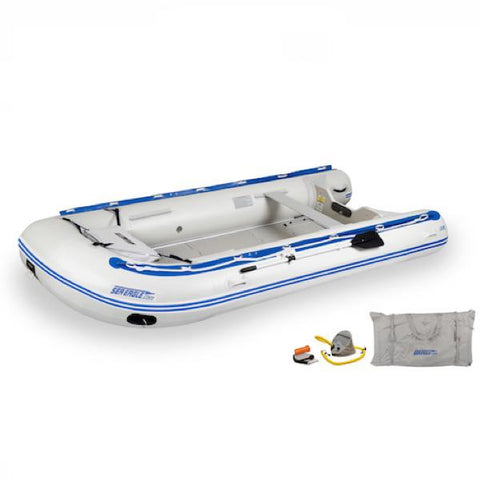Sea Eagle 14' Sport Runabout Inflatable Boat top view with the bag and pump sitting next to the Sea Eagle inflatable boat.