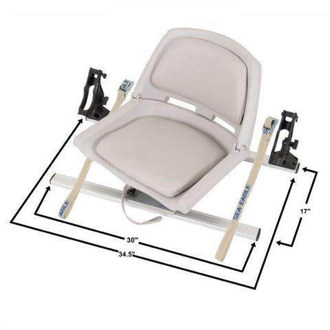 Sea Eagle Swivel Seat Fishing Rig with Scotty Rod Holders diagram of dimensions. Top view.