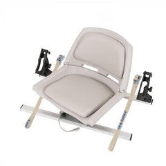 Sea Eagle Swivel Seat Fishing Rig - Grey seat upright with black rod holders and grey frame. SSFR