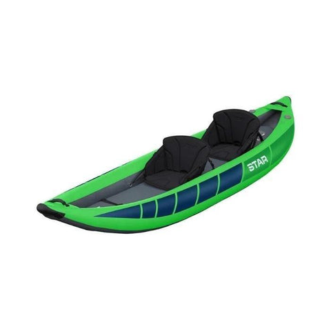 STAR Raven II Inflatable Kayak Lime inflatable kayak body with black interior. Top front display view.