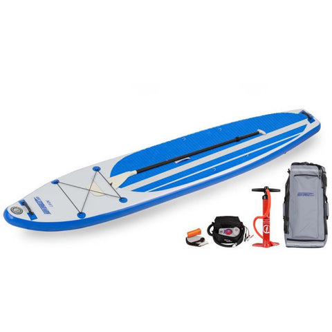 Blue and Grey Sea Eagle Longboard 126 Inflatable SUP top display view with the gray bag, electric pump, and red pump sitting next to the Sea Eagle inflatable SUP.