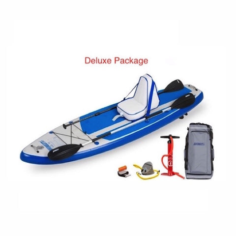Sea Eagle HB96 Hybrid Inflatable SUP Deluxe Package top display view with the bag and pump sitting next to the Sea Eagle inflatable SUP.