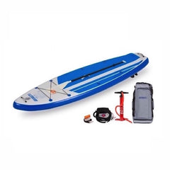Blue/Grey Sea Eagle HB96 Hybrid Inflatable SUP top display view with the bag and pump sitting next to the Sea Eagle inflatable SUP.