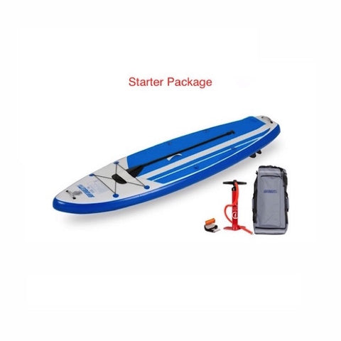 Sea Eagle HB96 Hybrid Inflatable SUP Starter package top display view with the bag and pump sitting next to the Sea Eagle inflatable SUP.