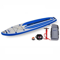 Sea Eagle Longboard 11 Inflatable SUP top display view with the bag and pump sitting next to the Sea Eagle inflatable SUP.