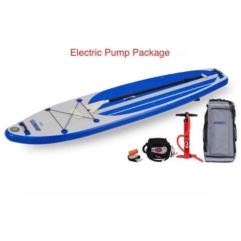 Sea Eagle Longboard 11 Inflatable SUP Electric Pump Package top display view
