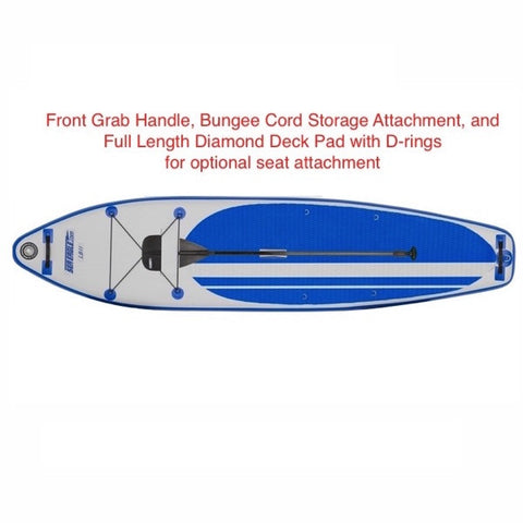 Sea Eagle Longboard 11 Inflatable Stand Up Paddle Board top view with detailed text