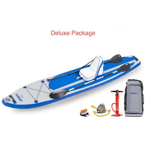Sea Eagle Longboard 126 Inflatable SUP Deluxe package top display view with the bag and pump sitting next to the Sea Eagle inflatable SUP.