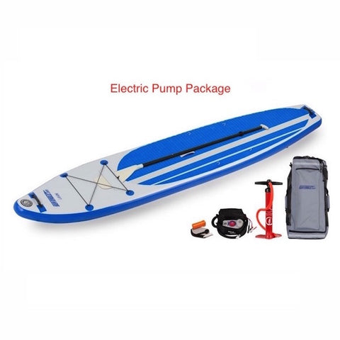 Sea Eagle Longboard 126 Inflatable SUP Electric Pump Package top display view with the bag and pump sitting next to the Sea Eagle inflatable SUP.