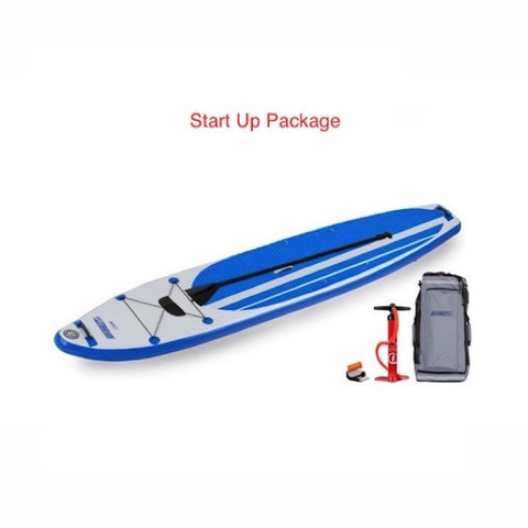 Sea Eagle Longboard 126 Inflatable SUP Start Up Package top display view with the bag and pump sitting next to the Sea Eagle inflatable SUP.