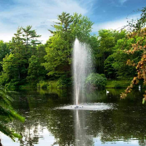 A bit more distant view of the Scott Aerator Gusher Pond Fountain 1 Hp Floating Fountain.  This gorgeous floating water fountain is perfect for pond and lake fountains.