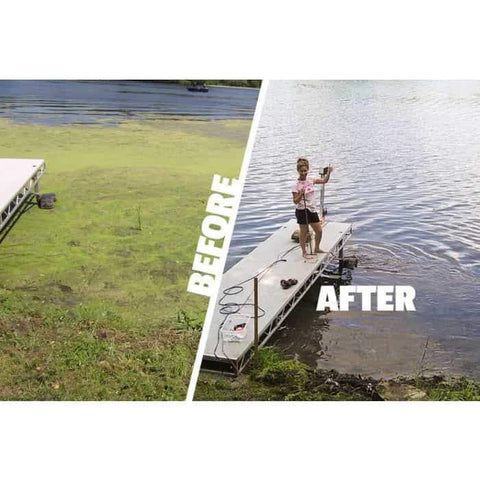 Before and after results from using a Scott Aerator Dock Mount Aquasweep