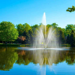 The Scott Aerator Clover Pond Fountain 1 1/2 Hp floating pond fountain shows an incredible display in the middle of the the lake.  This lake fountain creates an incredible sight.