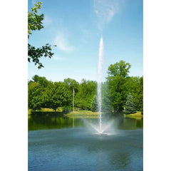 Scott Aerator Skyward Pond Fountain 1 1/2 Hp sprays water in the air in the park.  Small pond fountain