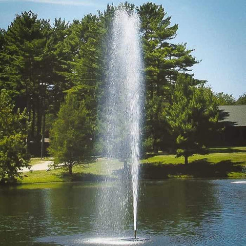 Scott Aerator Gusher 1 1/2 HP Floating Pond Fountain is a one of kind floating fountain.  This floating water fountain is easy to setup and brings endless joy.  Shown here in a park or golf course setting.