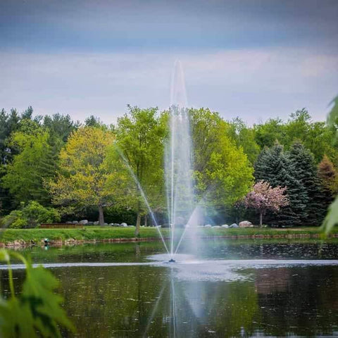 Scott Aerator Clover Pond Fountain 1 1/2 Hp sprays water 40ft high as a floating lake fountain.  The lake fountain creates a beautiful display.