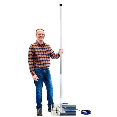 Guy standing next to a Scott Aerator Dock Mount Aquasweep muck remover for reference of how big it is.