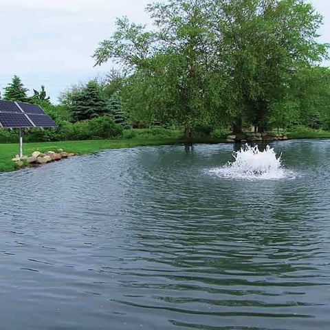 Scott Aerator Boilermaker Floating Solar Pond Aerator 3/4 Hp Surface Aerator as a floating small pond aerator with the black solar panel pond side in a flower bed.  The surface aerator creates a white splash and brings oxygen to the water through pond aeration.  Green grass and trees are around the residential pond.  As far as surface aerators go this is one of the best floating solar pond aerator.