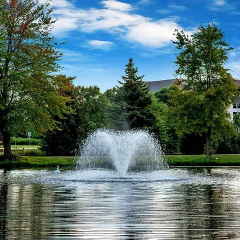 Amazing view of the DA-20 Scott Aerator Display Aerator 1 Hp floating pond fountain against green trees and a blue sky. Also known as a Floating Pond Aerator Fountain.