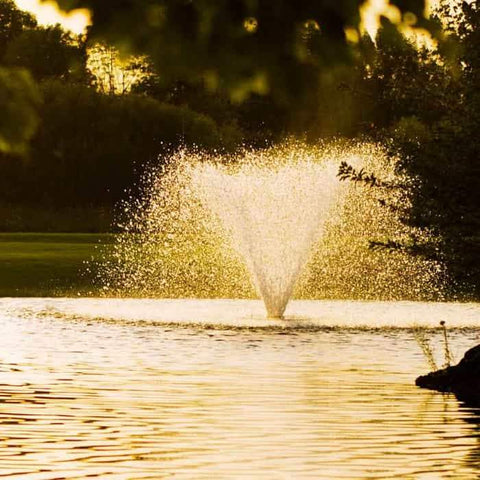 Scott Aerator Display Aerator 1 1/2 Hp floating pond fountain creates a 10 foot high display.  The DA-20 display aerator is one of Scott Aerators most popular floating fountains. This large pond aerator is also known as a Floating Pond Aerator Fountain.