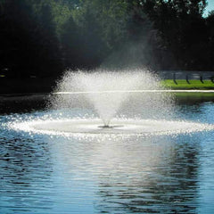 Scott Aerator DA-20 Display Aerator is 2 Hp large pond aerator is also known as a Floating Pond Aerator Fountain.  The white trumpet shaped spray glistens off the dark blue water in this close up view of the floating pond aerator.