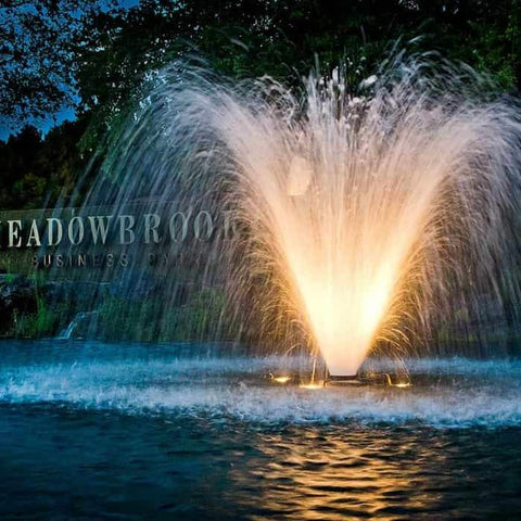 Scott Aerator Display Aerator 1 1/2 Hp floating pond fountain with led lights creates a 10ft high and 25ft wide water display.  The DA-20 display aerator floating fountain is shown close up. This large pond aerator is also known as a Floating Pond Aerator Fountain with LED Lights