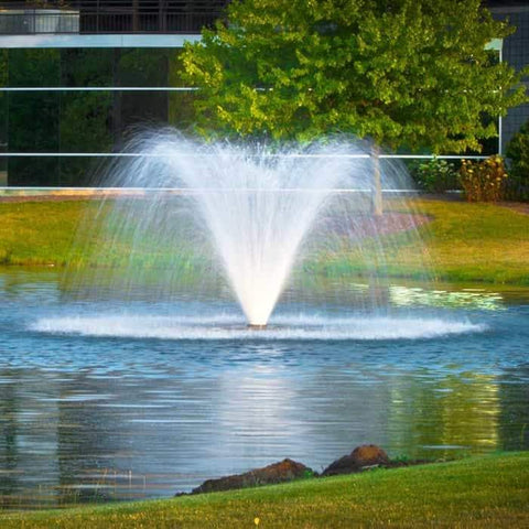 Scott Aerator DA-20 Display Aerator is a 1 1/2 Hp display aerator with 10 foot high and 25 foot wide water display. The floating pond fountain creates a trumpet shaped water fountain spray. This large pond aerator is also known as a Floating Pond Aerator Fountain.