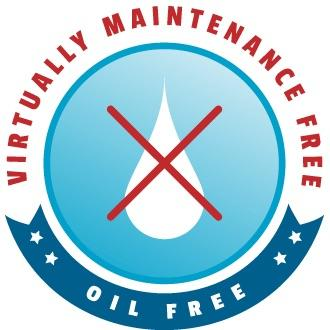 Scott Aerator Oil Free and Virtually Maintenance Free logo. White teardrop oil drop in white in the middle of a light blue circle.  The oil drop has a big red X through it.  Virtually Maintenance Free is arched in Red over the top.  Oil Free is in white letters inside a dark blue/green banner under-arcing the logo.