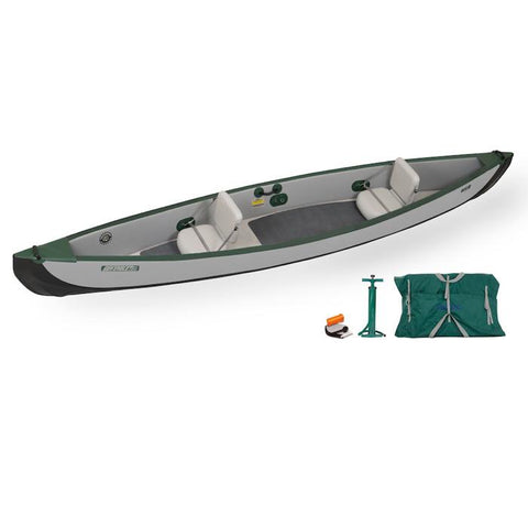 Sea Eagle Travel Canoe TC16 2 Person Start Up Package with Inflatable Seats. Grey and Green Inflatable Canoe.