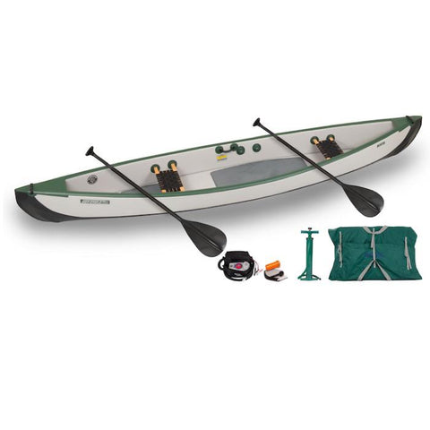 Sea Eagle Travel Canoe TC16 2 Person Electric Pump Package with Web/Wood Seats. Sea Eagle Inflatable canoe is green and grey. Web seats are black with wood rods.