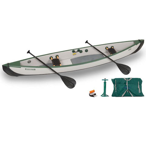 Sea Eagle Travel Canoe TC16 2 Person Start Up Package with Web/Wood Seats. Green and Grey Inflatable Canoe with Black Paddles
