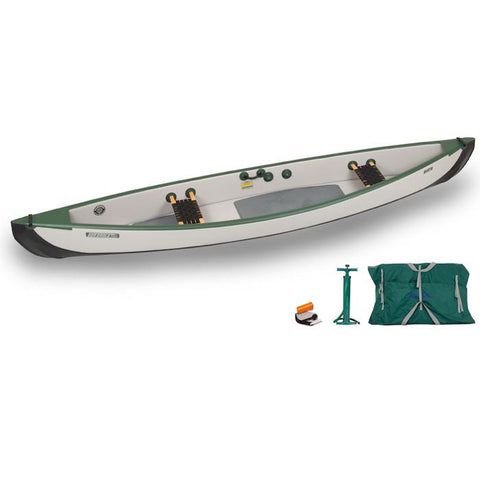 Sea Eagle Travel Canoe TC16 2 Person Basic Package with Web/Wood Seats. Sea Eagle Inflatable Canoe is grey and green.
