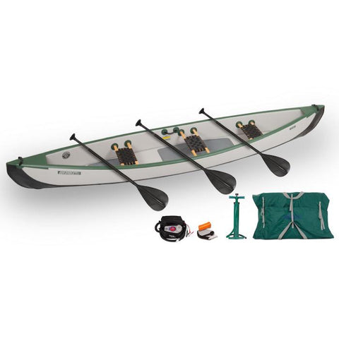Sea Eagle Travel Canoe TC16 3 Person Electric Pump Pkg with Wood/Web seats and black paddles. The Sea Eagle Inflatable Canoe is green and white.