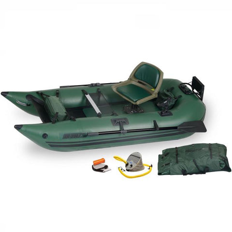 Top Side view of the green Sea Eagle 285 Frameless Inflatable Fishing Boat with carry bag and pump sitting next to the Sea Eagle inflatable boat.