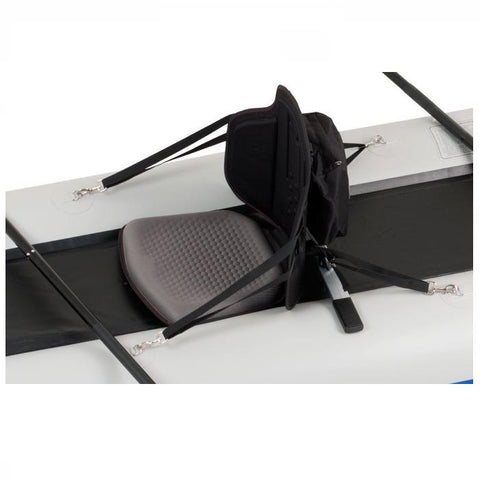 Sea Eagle TBS Kayak Seat in place on a SUP.  Side view of the black Tall Back Kayak Seat
