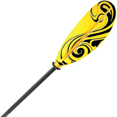 Shoreline Marine Propel Pro Fiberglass Kayak Paddle closeup.  Black shaft with drip guards, yellow blade with black designs.
