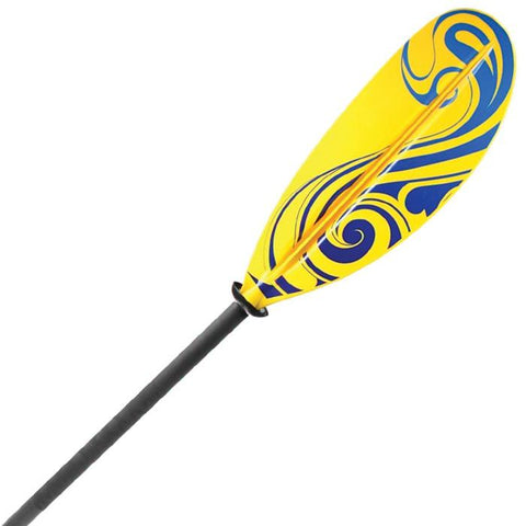 Propel Pro Fiberglass Kayak Paddle closeup.  Yellow blade with blue squiggly designs cover most of the yellow blade.  Black shaft with black drip guards.