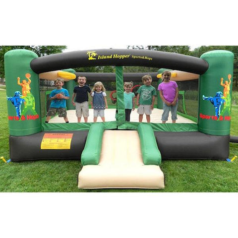 Front view of the Island Hopper Sports and Hops 5 Bounce House with several kids playing inside.