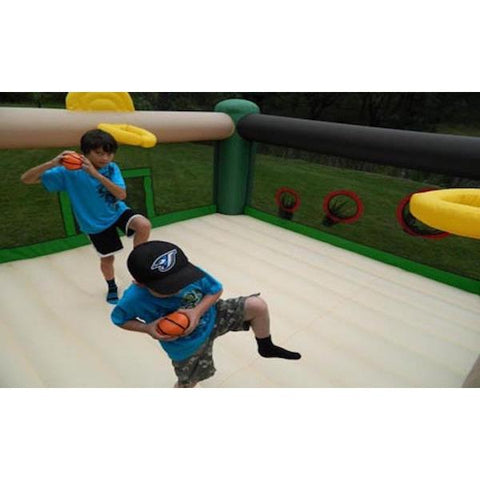 Island Hopper Sports and Hops 5 Activity Bounce House -inside view of the baseball and basketball fun - Splashy McFun